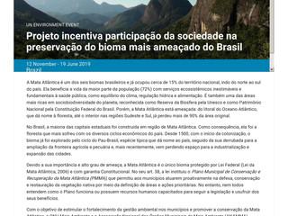 Projeto sobre a Mata Atlântica em parceria com a ANAMMA é destaque no site da ONU
