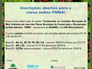 Novas datas para  inscrições no curso online PMMA!