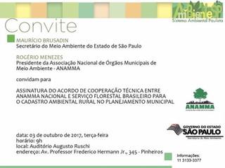 Convite para assinatura do Acordo de Cooperação Técnica (ACT) entre a ANAMMA e o SFB
