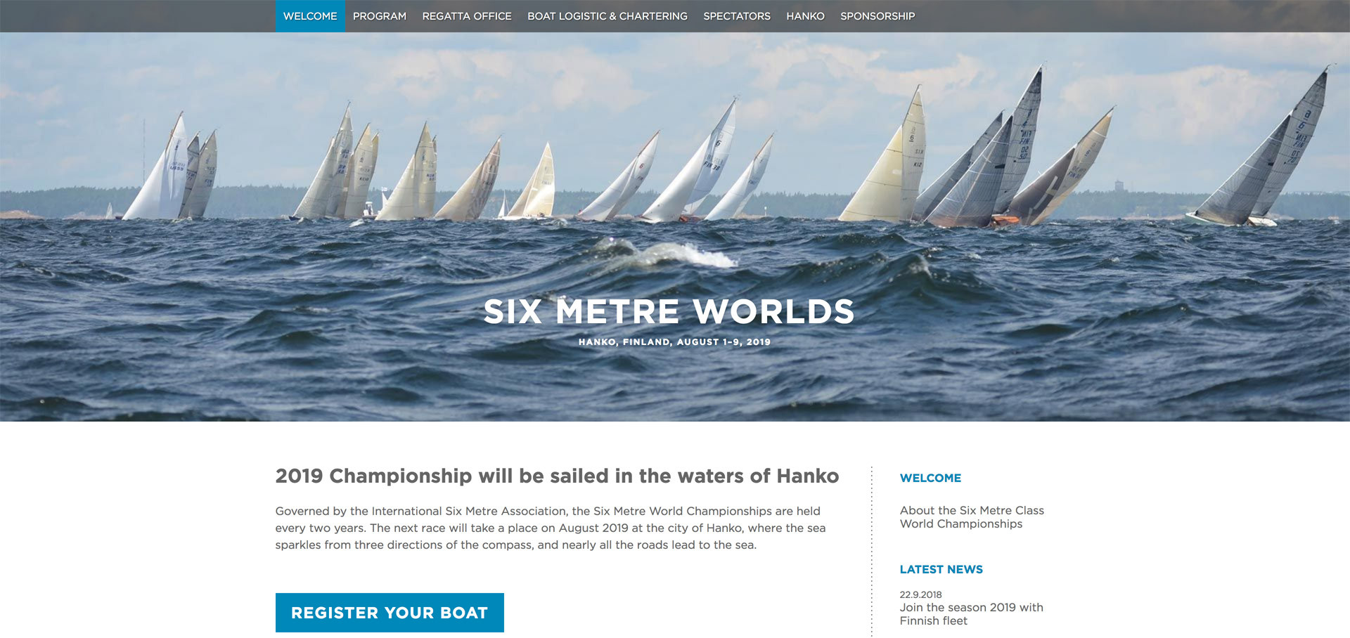 Six Metre World Championship, sivusto 2019