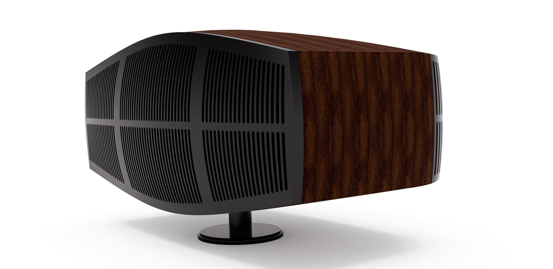 Beautiful side shot of the speaker. Fully displaying the  speaker grill at the front while also teasing the rear port grill.