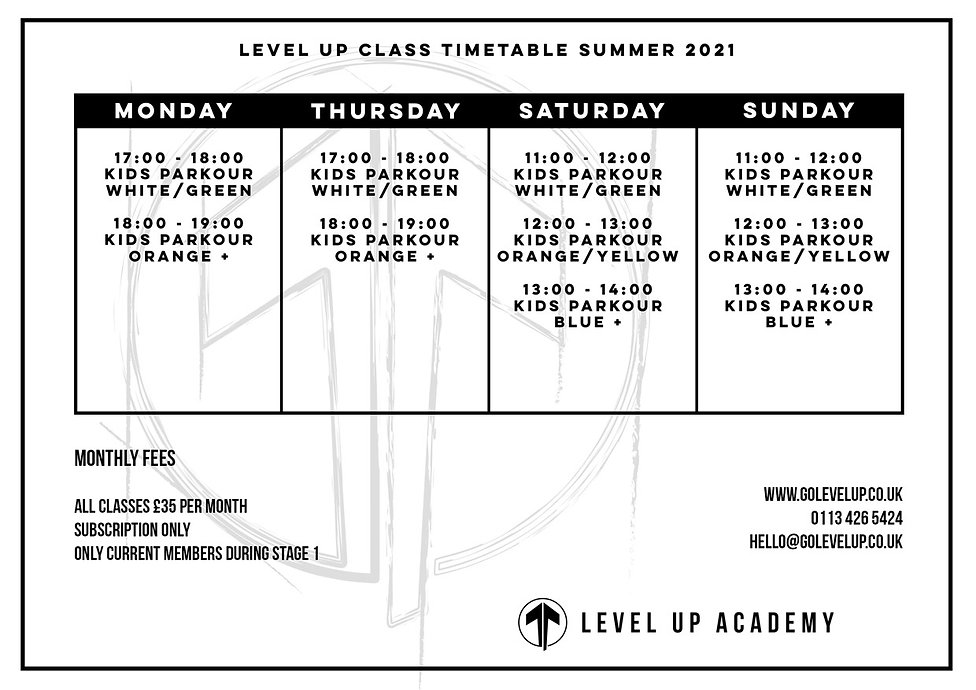 Level Up Academy Parkour TImetable Leeds