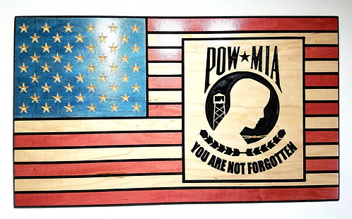 American Flag Carved in Wood with POW MIA