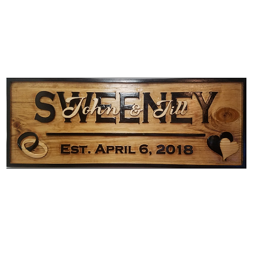 Wedding / Anniversary Personalized Sign 3D Carved