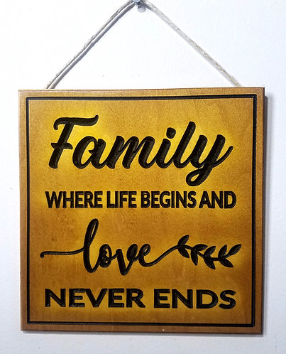 """Family Where Life Begins 9""""x9"""" Wood Carved Sign"""