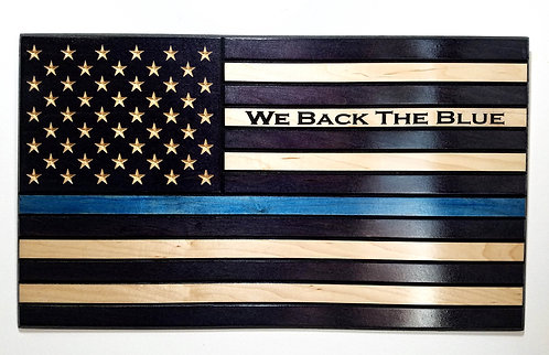 American Flag Carved in Wood with Thin Blue Line - We Back The Blue - Police