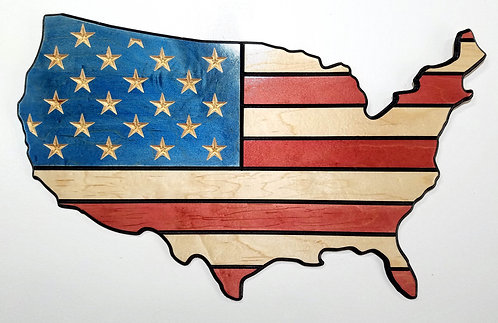 American Flag Carved in Wood - Shape of USA