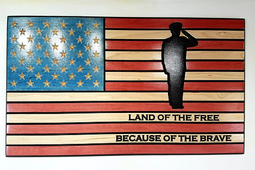 American Flag Carved in Wood with Land of the Free