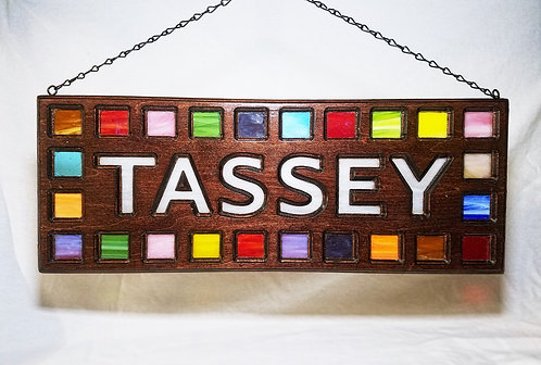 Last Name Sign - Wood Framed Stained Glass - Suncatcher Wall Art