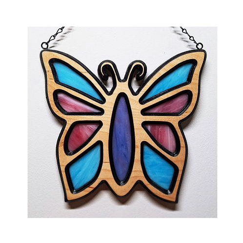 Wood Framed Stained Glass Suncatcher - Butterfly