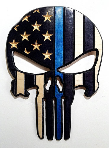 American Flag Carved in Wood - Shape of Punisher - Thin Blue Line - Police