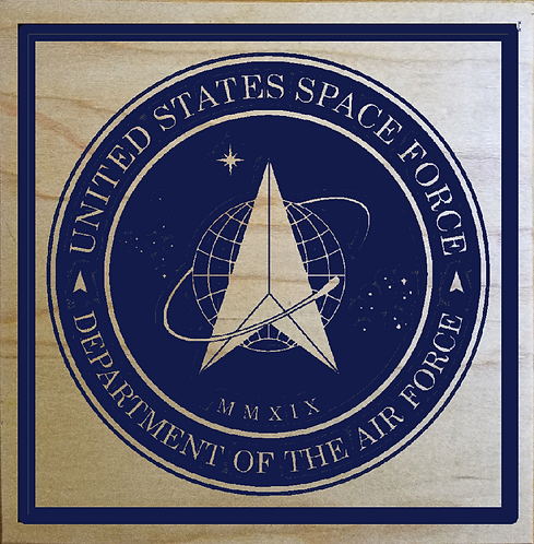 "United States Space Force 9""x9"" Wood Carved Sign"