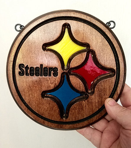 Wood Framed Stained Glass Pittsburgh Steelers Suncatcher