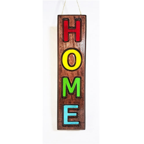 Wood Framed Stained Glass HOME Sign Suncatcher