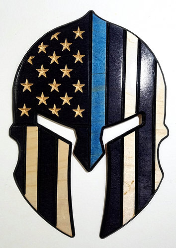 American Flag Carved in Wood - Shape of Spartan Helmet - Thin Blue Line - Police