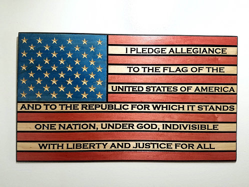 American Flag Carved in Wood with Pledge of Alliegence