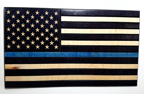American Flag Carved in Wood with Thin Blue Line - Police