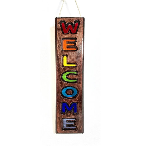 Wood Framed Stained Glass WELCOME Sign Suncatcher