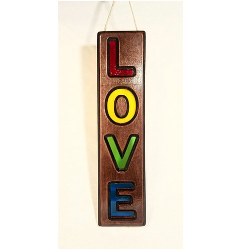 Wood Framed Stained Glass LOVE Sign Suncatcher