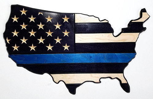 American Flag Carved in Wood - Shape of USA - Thin Blue Line - Police