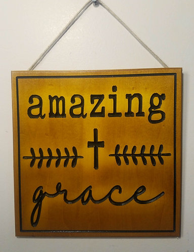 """Amazing Grace 9""""x9"""" Wood Carved Sign"""