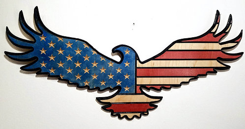 American Flag Carved in Wood - Shape of Eagle