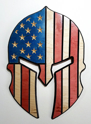 American Flag Carved in Wood - Shape of Spartan Helmet