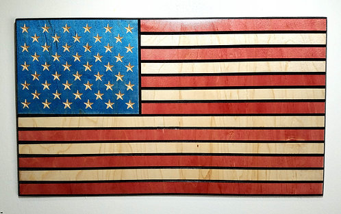American Flag Carved in Wood