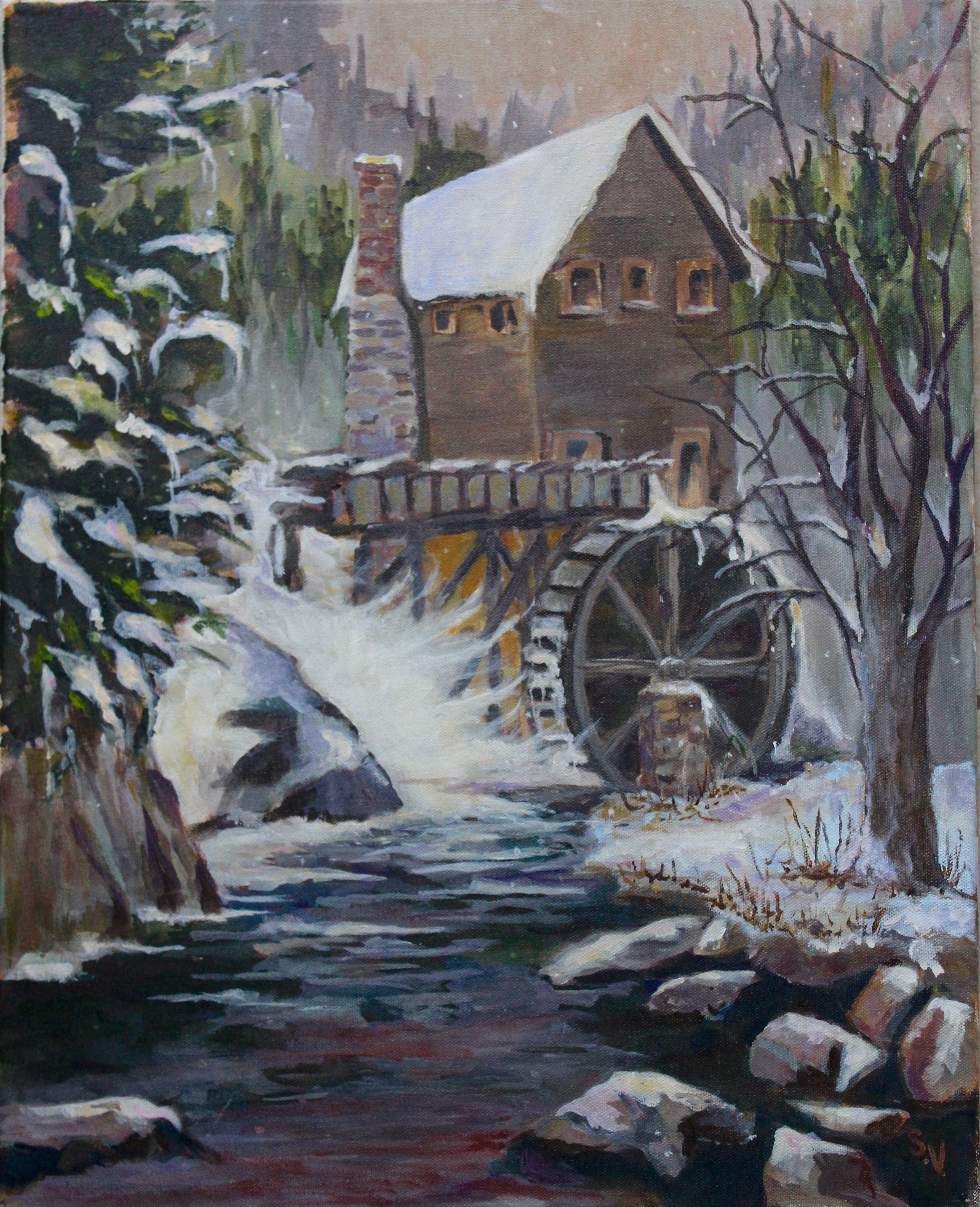 Snow at the Watermill