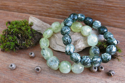 Prehnite and Seraphinite Bracelets