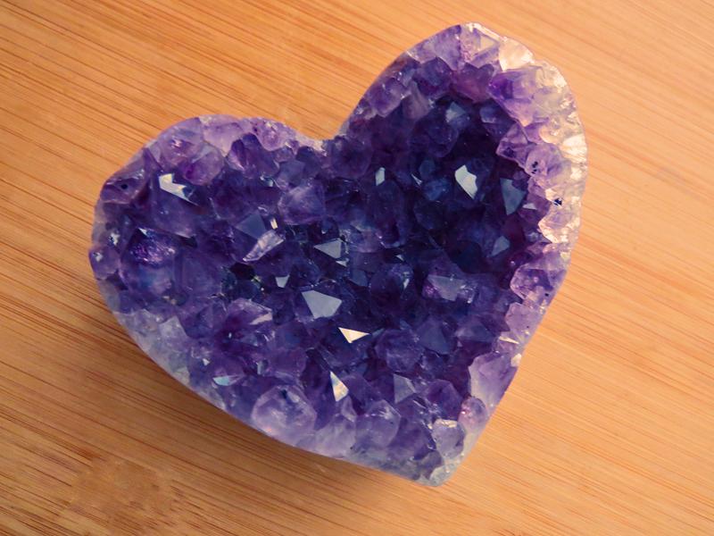 Amethyst Crystal Cluster Heart