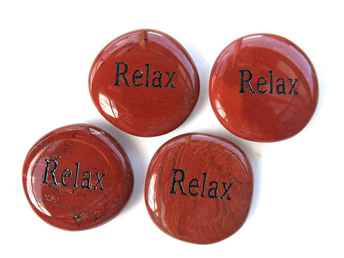 Word Stone: 'Relax' in Red Jasper