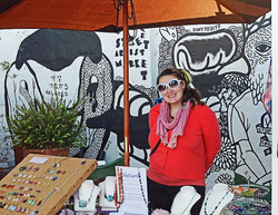 Bianca at our market stall