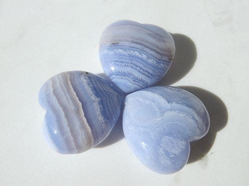 Blue Lace Agate Puff Heart