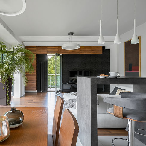 Elegant kitchen with concrete counter an