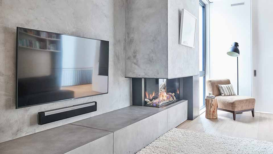 MICROCEMENT ON FURNITURE  FEATURE WALL AND FIREPLACE