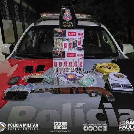 PMESP PRENDE CRIMINOSOS E FAZ APREENSÃO DE DROGAS E ARMA NO INTERIOR PAULISTA