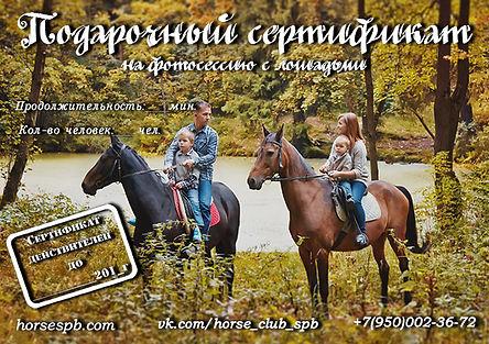 Подарочный сертификат на конную прогулку