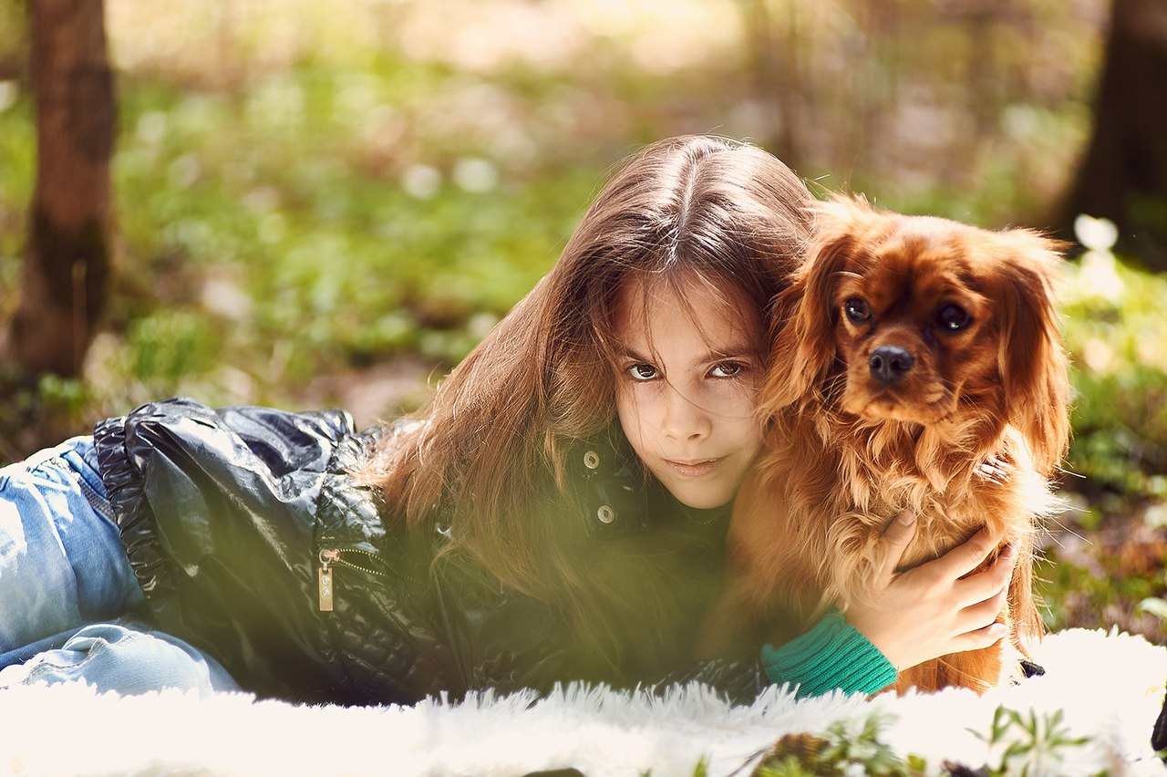 Детская фотосессия с щенками