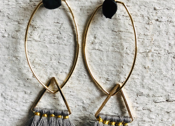 Grey Triangle Tassel on gold oval