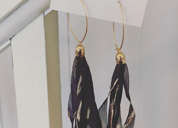 Navy Ribbon Tassel Earring on gold oval earwire