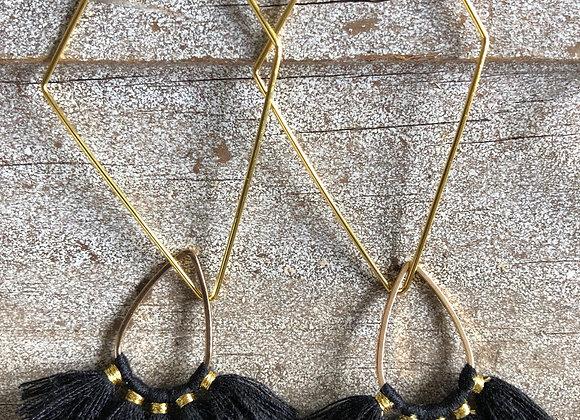 Black Fan Tassel on Gold Diamond