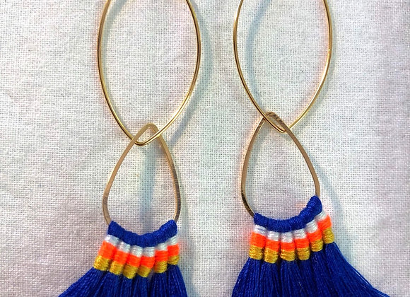 Cobalt Blue Brush Tassel on Gold Oval Earwire