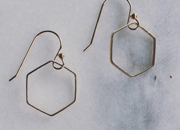 """Single Gold Hexagon on """"S"""" hook"""