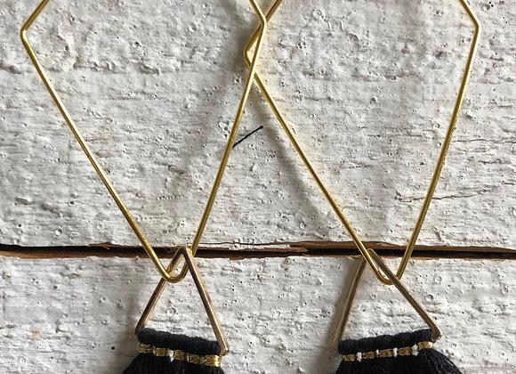 Black Triangle Tassel on gold diamond