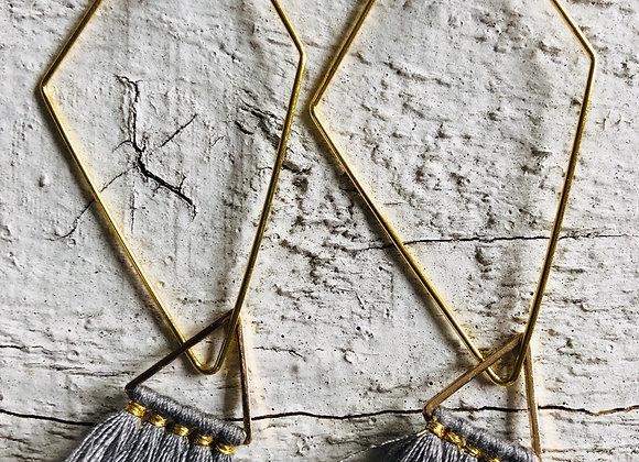 Grey Triangle Tassel on gold diamond