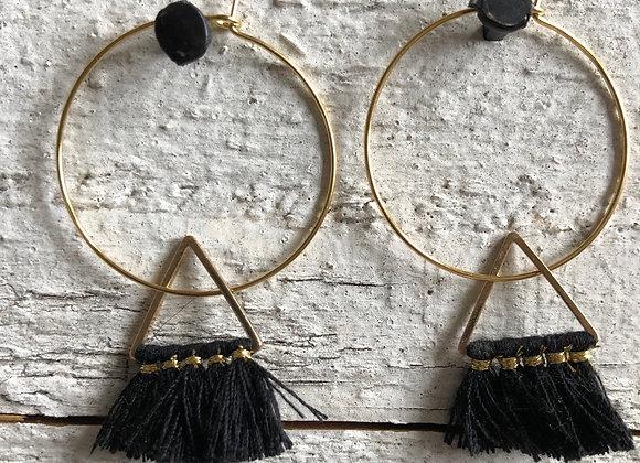 Black Triangle Tassel on gold hoop