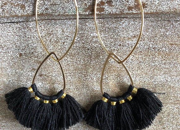 Black Fan Tassel on Gold Oval