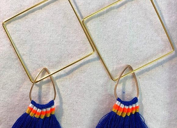 Cobalt Blue Brush Tassel on Gold Square Earwire