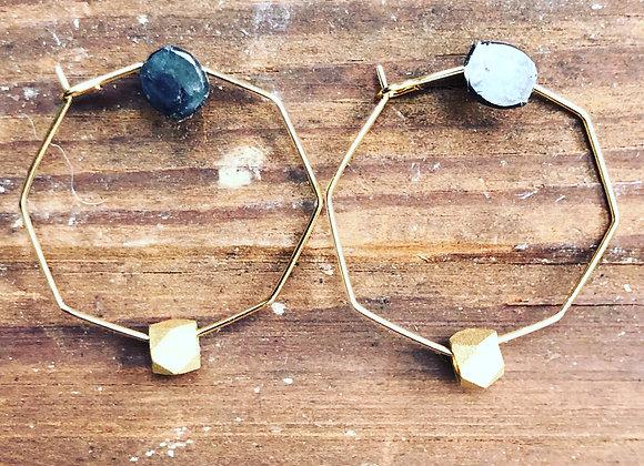 Matte gold bead on gold hexagon